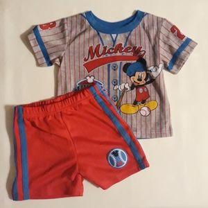 Like new Mickey Mouse Pajamas matching set 24m.